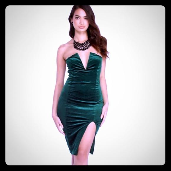 a5dfd3570e8 Sexy velvet green dress